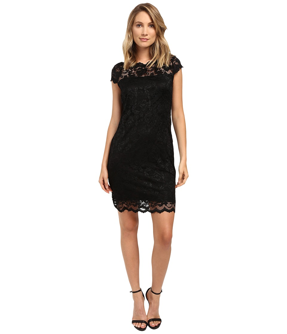 rsvp - Short Margaux Lace Cap Sleeve Dress (Black) Women's Dress