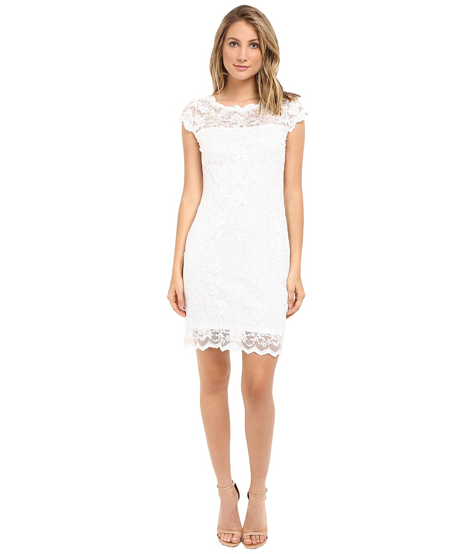 rsvp - Short Margaux Lace Cap Sleeve Dress (Ivory) Women's Dress