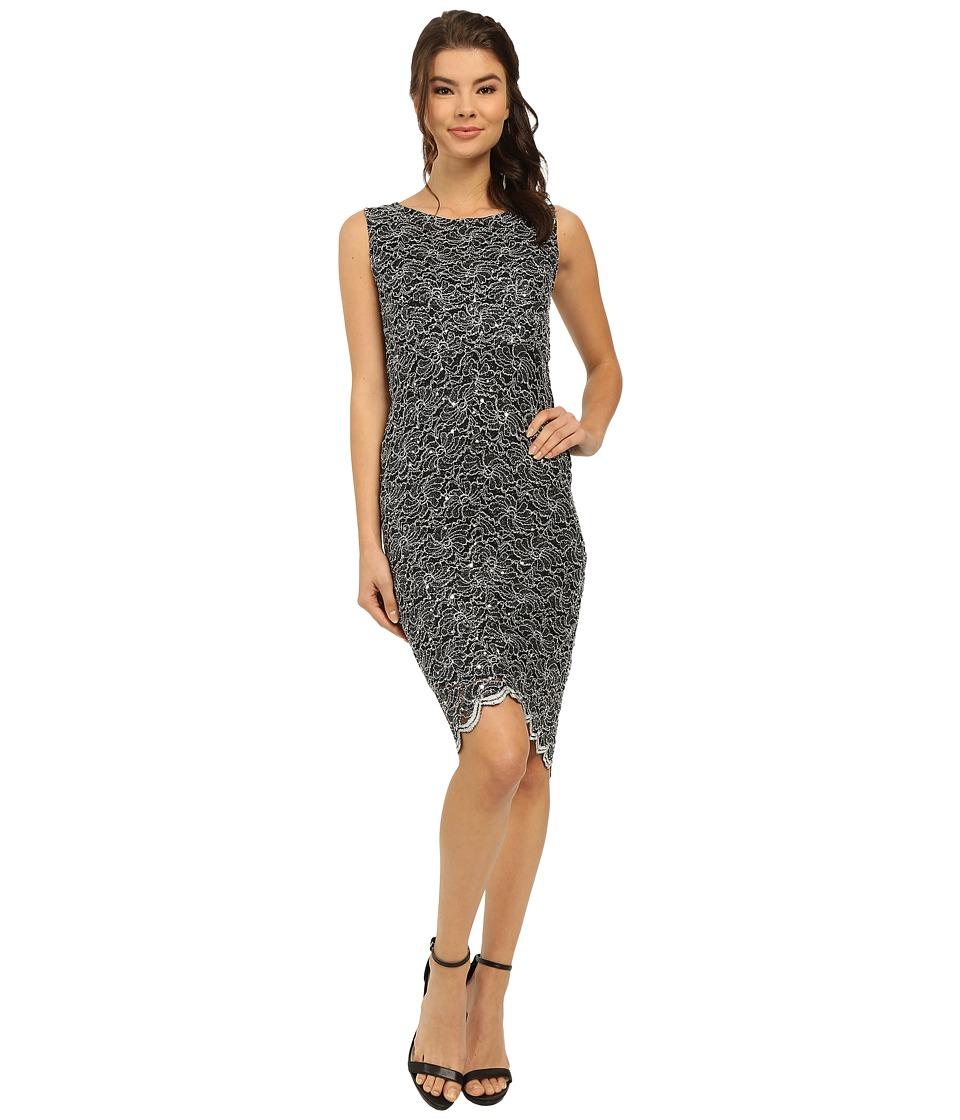 rsvp - Two-Tone Glitter Lace Dress (Black/White) Women's Dress