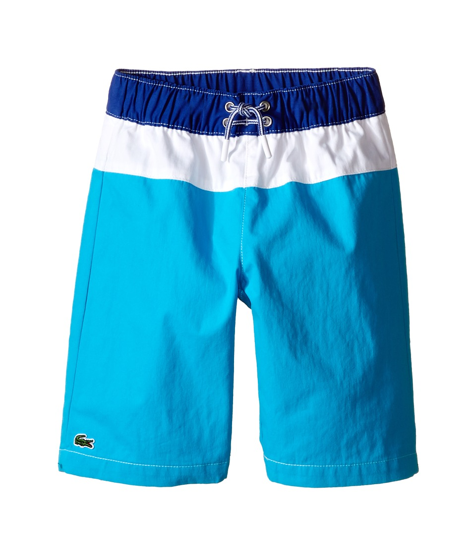 Lacoste Kids - Bold Stripe Swim Trunk (Little Kids/Big Kids) (Paradisiac Turquoise/White Explorer Blue) Boy's Swimwear