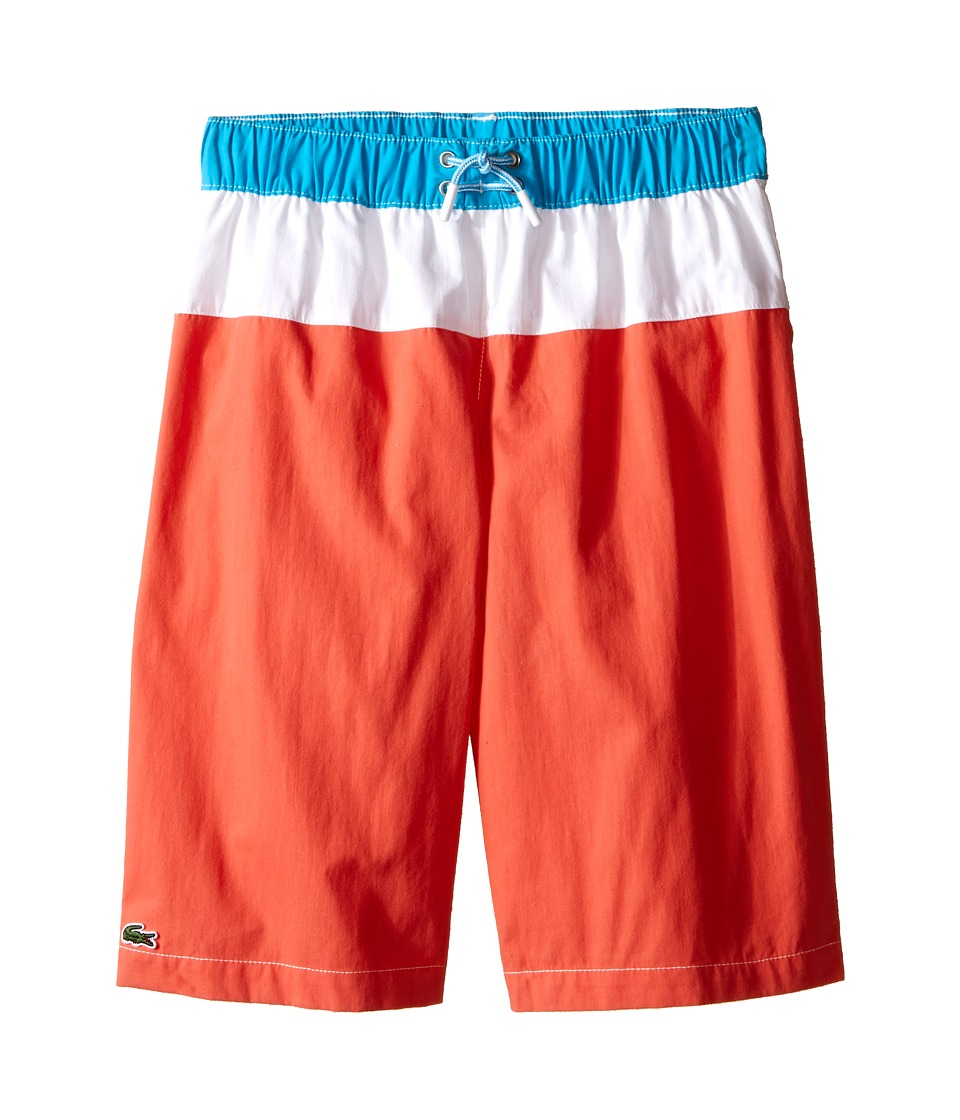 Lacoste Kids - Bold Stripe Swim Trunk (Little Kids/Big Kids) (Mango Tree Red/White Paradisiac Turquoise) Boy's Swimwear