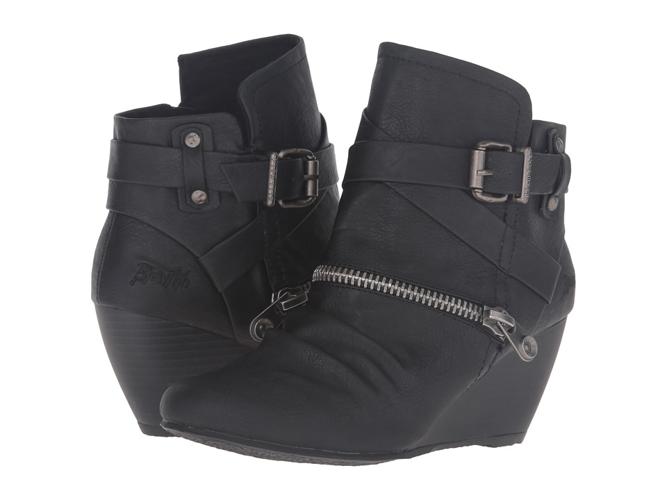 Blowfish - Bayard (Black Old Ranger PU) Women's Zip Boots
