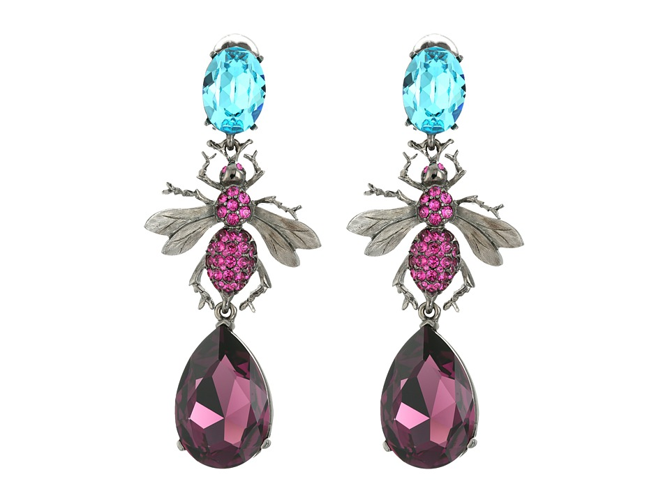 Oscar de la Renta - Crystal Bee Long Drop C Earrings (Celeste) Earring