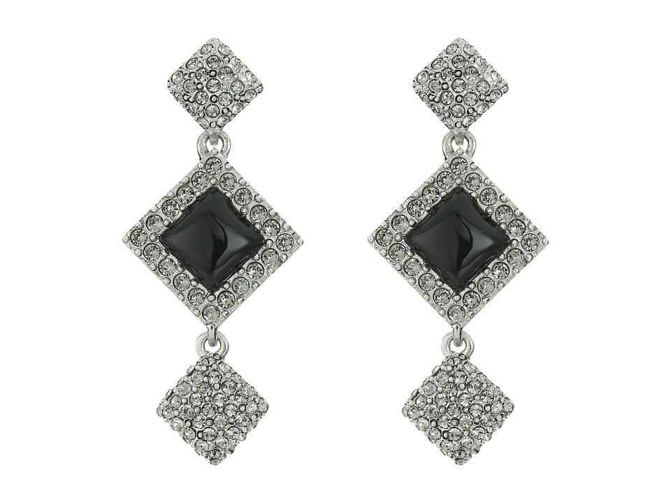 Oscar de la Renta - Geometric Resin Pave P Earrings (Black Diamond) Earring