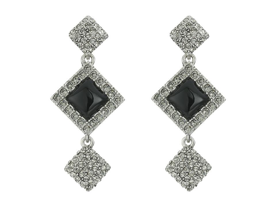 Oscar de la Renta - Geometric Resin Pave P Earrings (Black Diamond) Earring