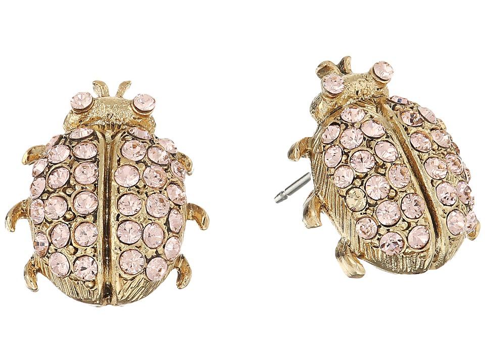Oscar de la Renta - Crystal Bug Button P Earrings (Peach) Earring