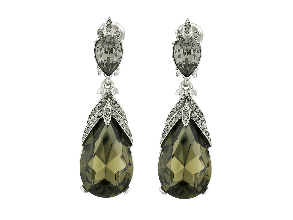Oscar de la Renta - Bold Teardrop C Earrings (Black Diamond) Earring