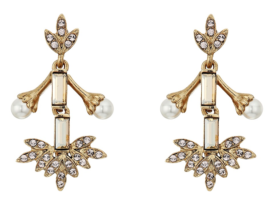 Oscar de la Renta - Crystal Baguette Leaf P Earrings (Bisque) Earring