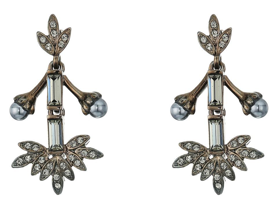 Oscar de la Renta - Crystal Baguette Leaf P Earrings (Black Diamond) Earring