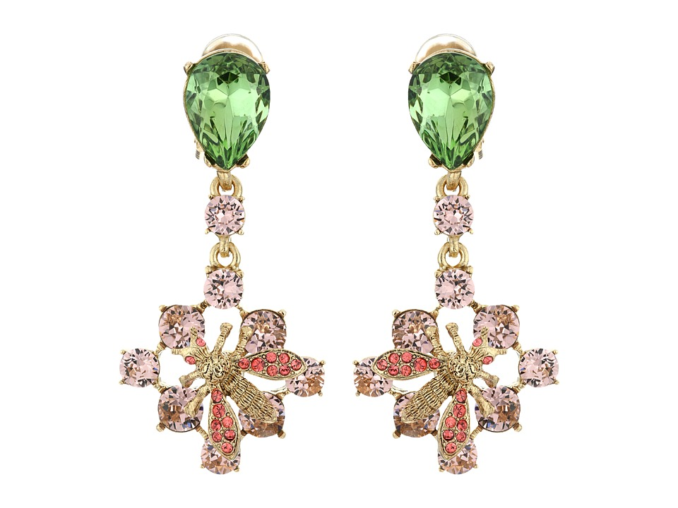 Oscar de la Renta - Crystal Bee Small Drop C Earrings (Soft Petal) Earring