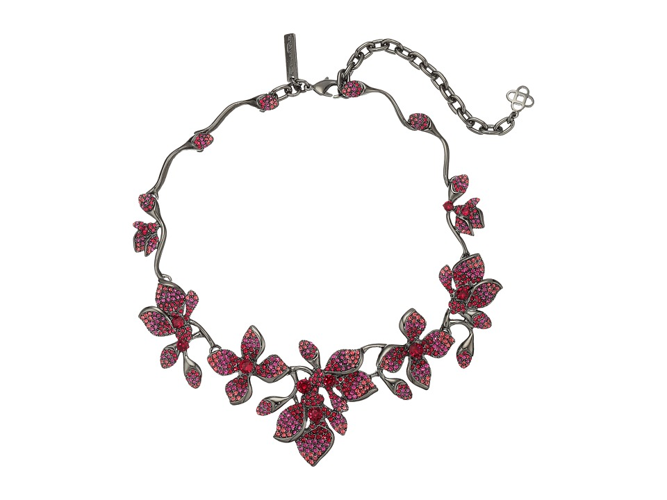 Oscar de la Renta - Gradient Crystal Flower Necklace (Poppy) Necklace