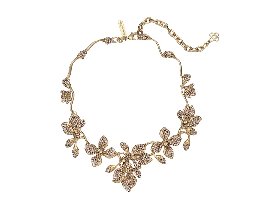 Oscar de la Renta - Gradient Crystal Flower Necklace (CRY GOLD) Necklace