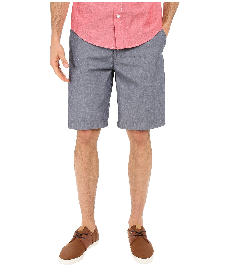 Dockers Men's - Perfect Short Classic Fit Flat Front (Clarke A Chambray-Faded Navy) Men's Shorts