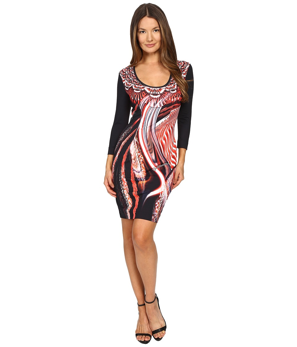 Just Cavalli - Leo Hurricane 3/4 Sleeve Bodycon Jersey Dress (Red Variant) Women's Dress