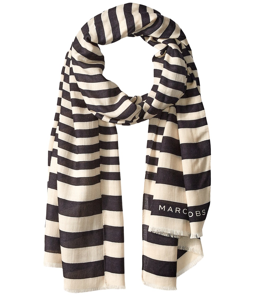 Marc Jacobs - Satin Stripe Scarf (Black Multi) Scarves