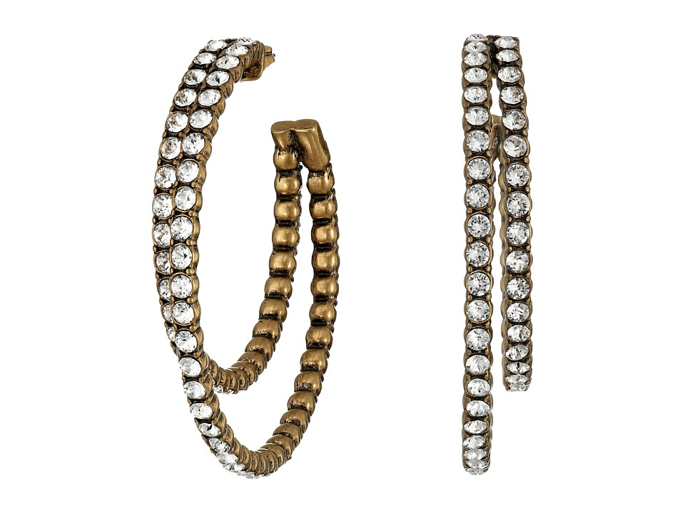 Marc Jacobs - Sparkle Crystal Statement Hoop Earrings (Crystal/Antique Gold) Earring