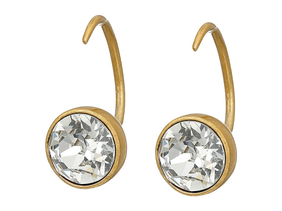 Marc Jacobs - Sparkle Small Crystal Hook Earrings (Crystal/Antique Gold) Earring