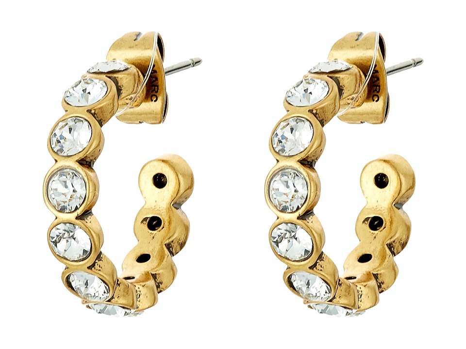 Marc Jacobs - Sparkle Small Crystal Hoops Earrings (Crystal/Antique Gold) Earring