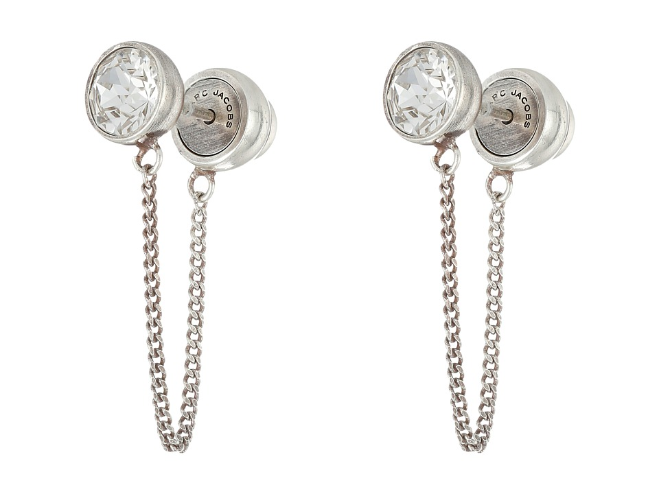 Marc Jacobs - Sparkle Chain Crystal Cabochon Studs Earrings (Crystal/Antique Silver) Earring