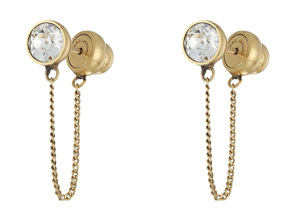Marc Jacobs - Sparkle Chain Crystal Cabochon Studs Earrings (Crystal/Antique Gold) Earring