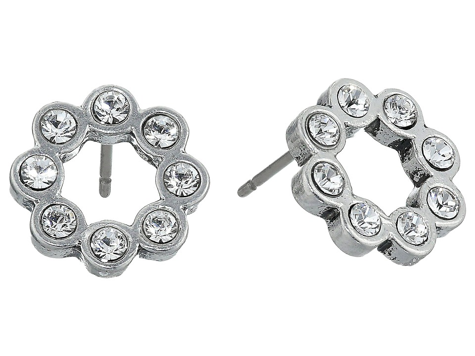 Marc Jacobs - Sparkle Crystal Dot Studs Earrings (Crystal/Antique Silver) Earring