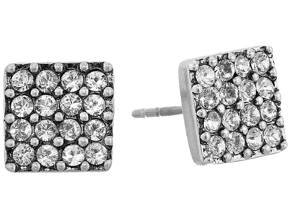 Marc Jacobs - Sparkle Crystal Square Studs Earrings (Crystal/Antique Silver) Earring
