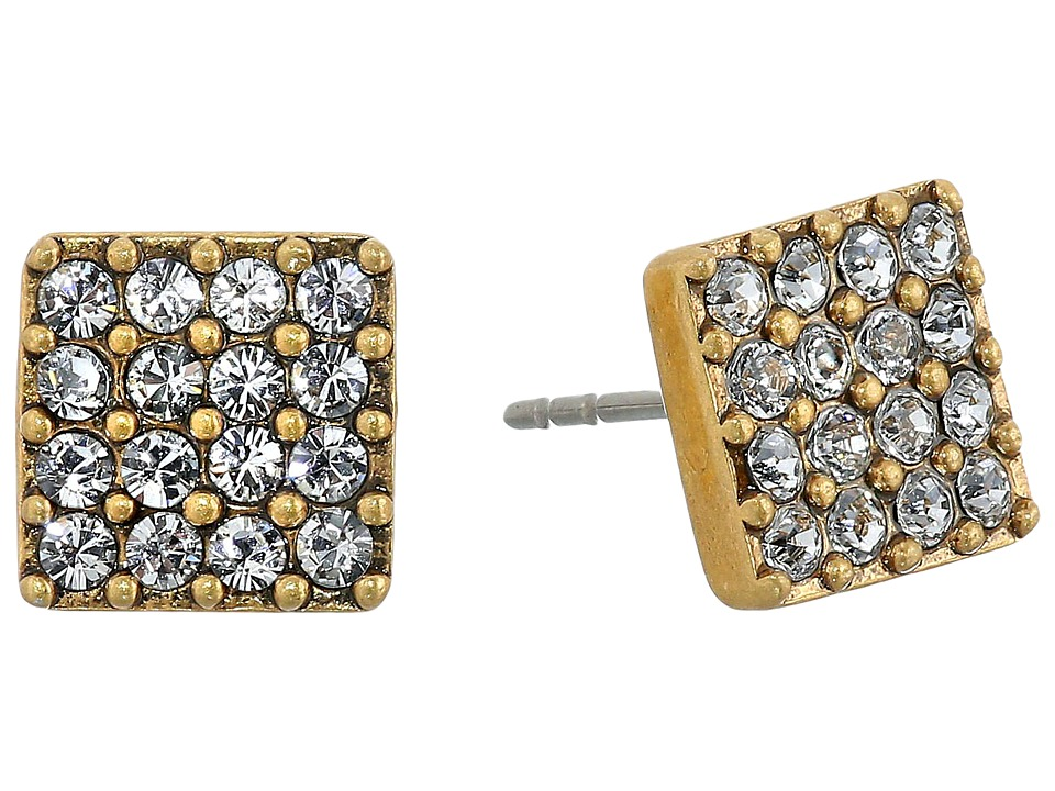 Marc Jacobs - Sparkle Crystal Square Studs Earrings (Crystal/Antique Gold) Earring