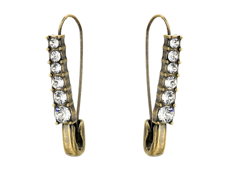 Marc Jacobs - Charms Safety Crystal Earrings (Crystal/Antique Gold) Earring
