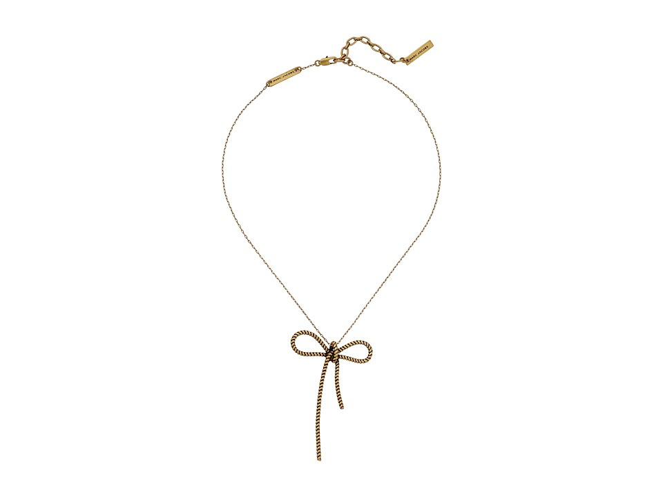 Marc Jacobs - Bow Rope Bow Pendant Necklace (Antique Gold) Necklace