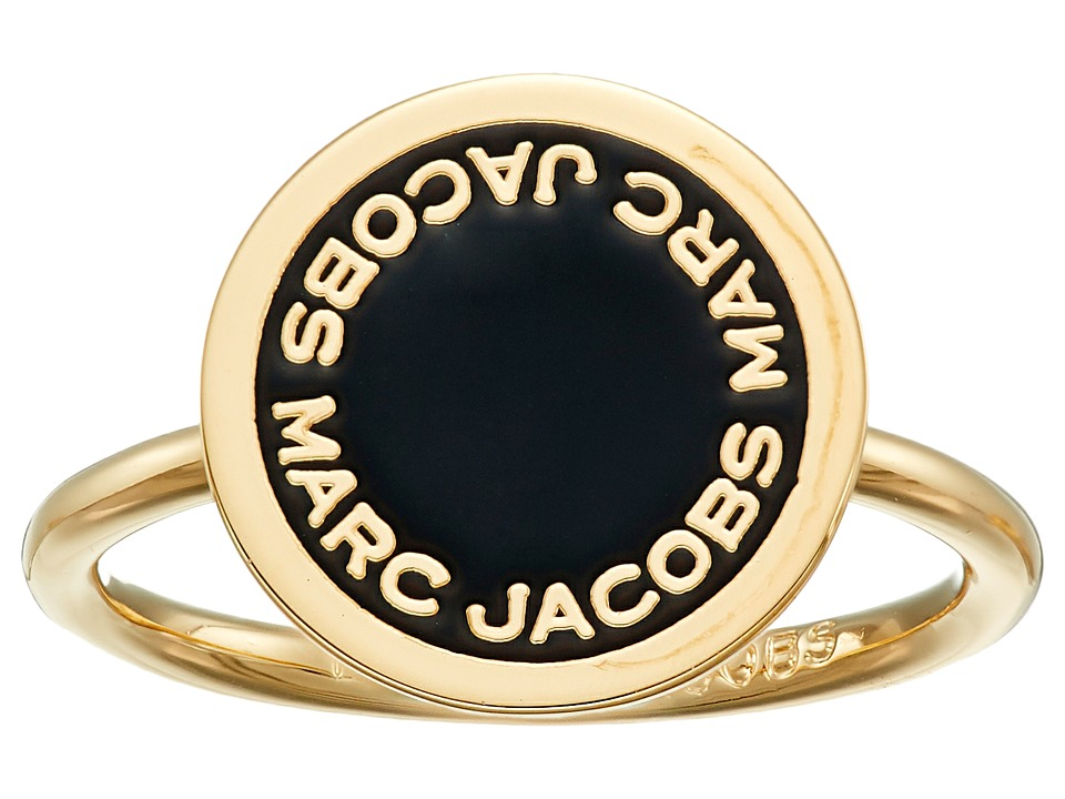 Marc Jacobs - Logo Disc Enamel Logo Disc Ring (Black/Oro) Ring