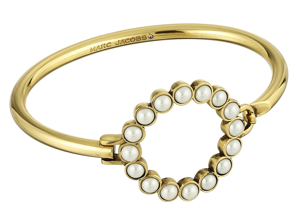 Marc Jacobs - Pearl Dot Hinge Cuff Bracelet (Cream/Antique Gold) Bracelet