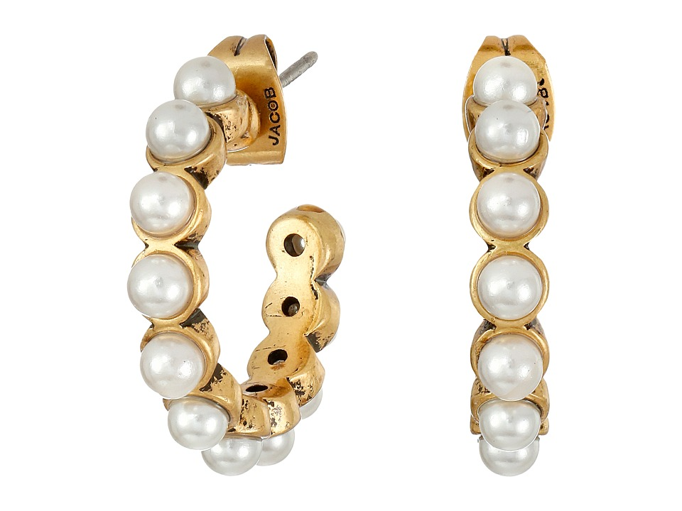 Marc Jacobs - Pearl Cabochon Hoops Earrings (Cream/Antique Gold) Earring