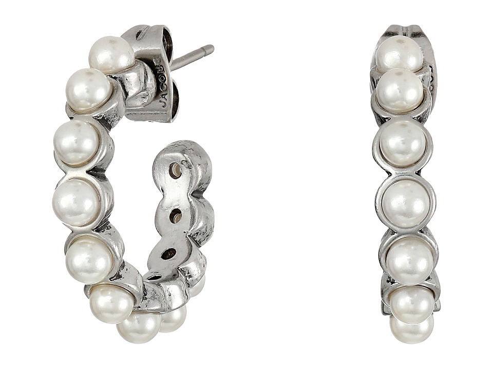 Marc Jacobs - Pearl Cabochon Hoops Earrings (Cream/Antique Silver) Earring