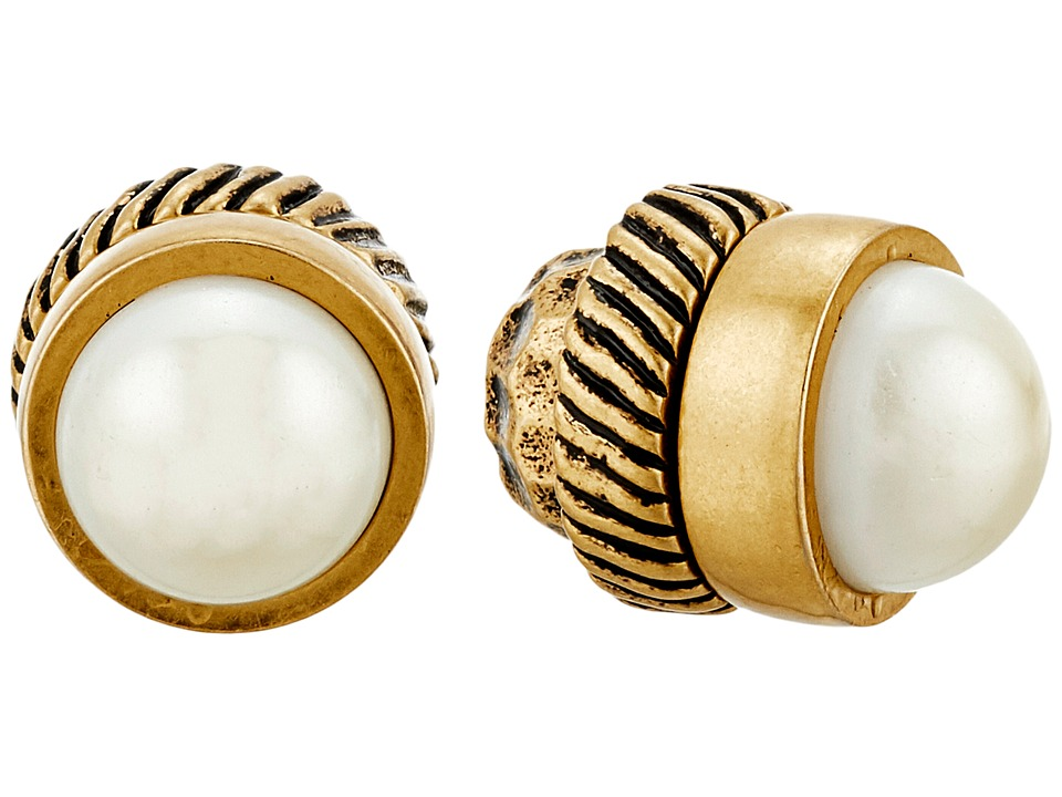 Marc Jacobs - Cabochon Magnetic Studs Earrings (Cream/Antique Gold) Earring