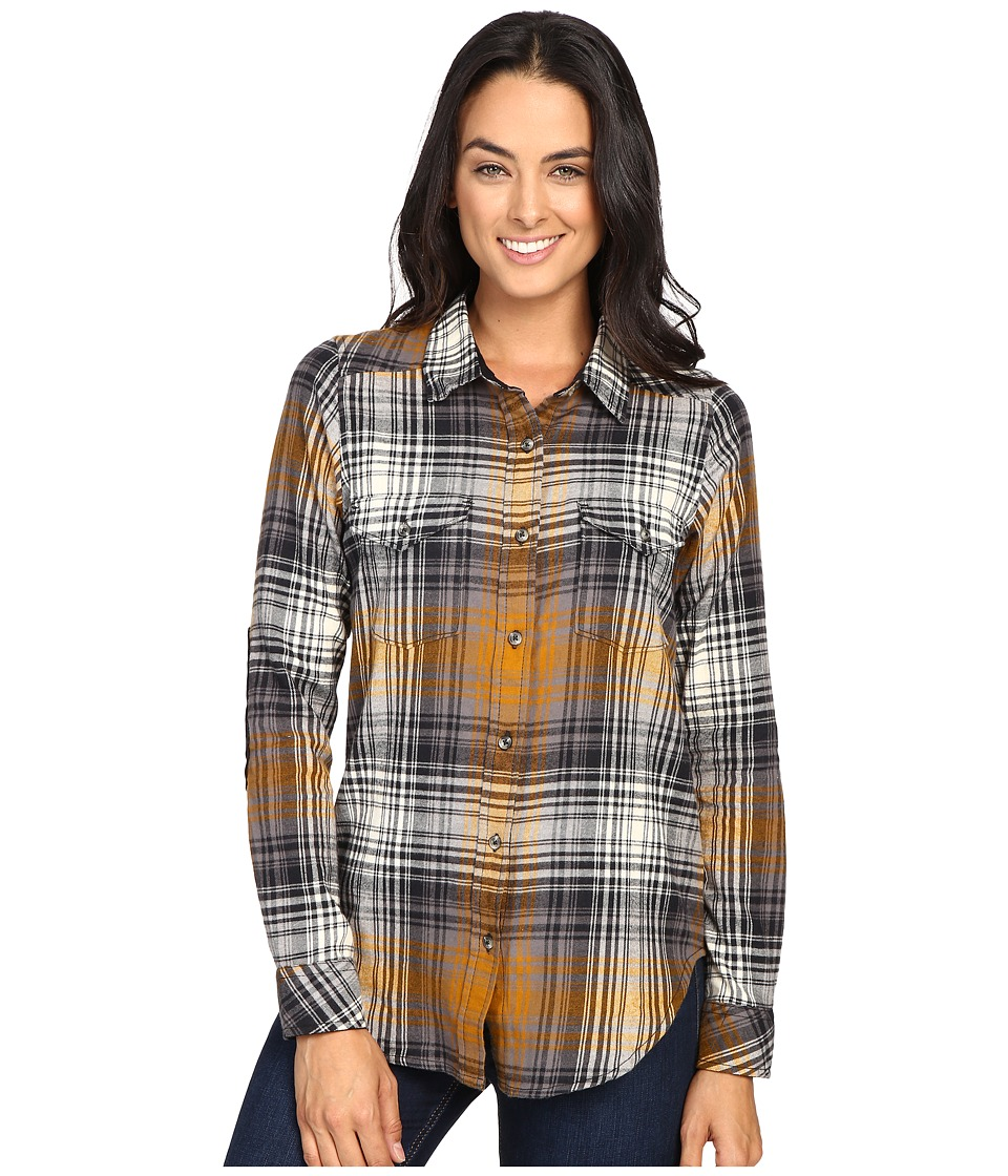 KAVU - Billie Jean Shirt (Black/Tan) Women's Long Sleeve Button Up