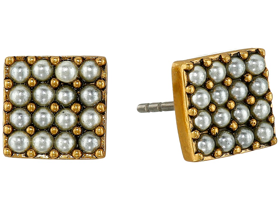 Marc Jacobs - Pearl Square Studs Earrings (Cream/Antique Gold) Earring