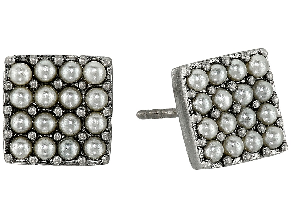 Marc Jacobs - Pearl Square Studs Earrings (Cream/Antique Silver) Earring