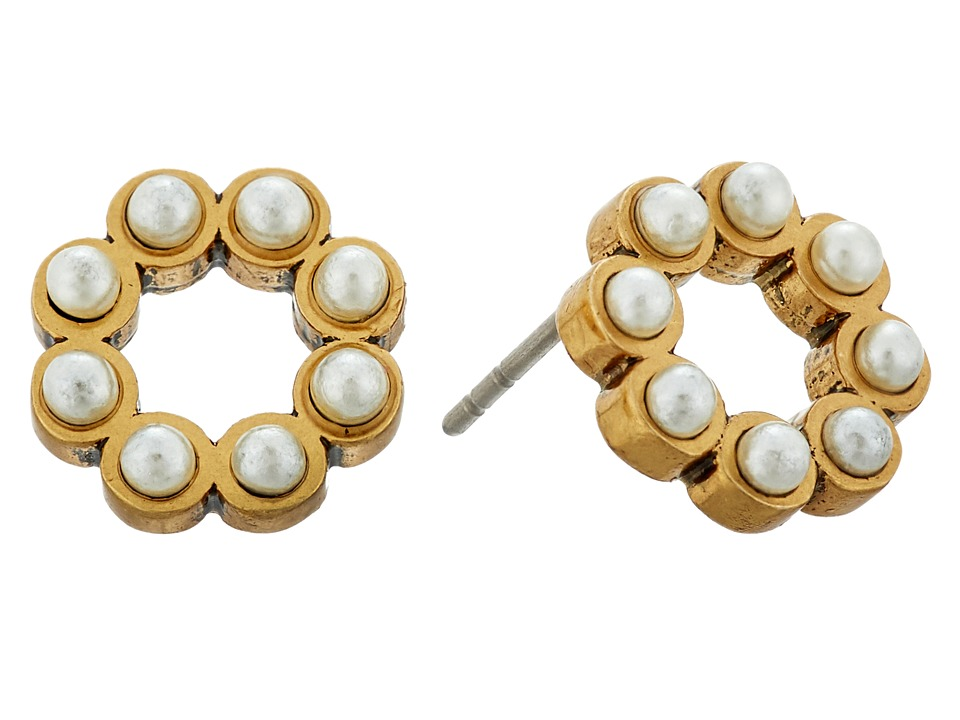 Marc Jacobs - Pearl Dot Studs Earrings (Cream/Antique Gold) Earring