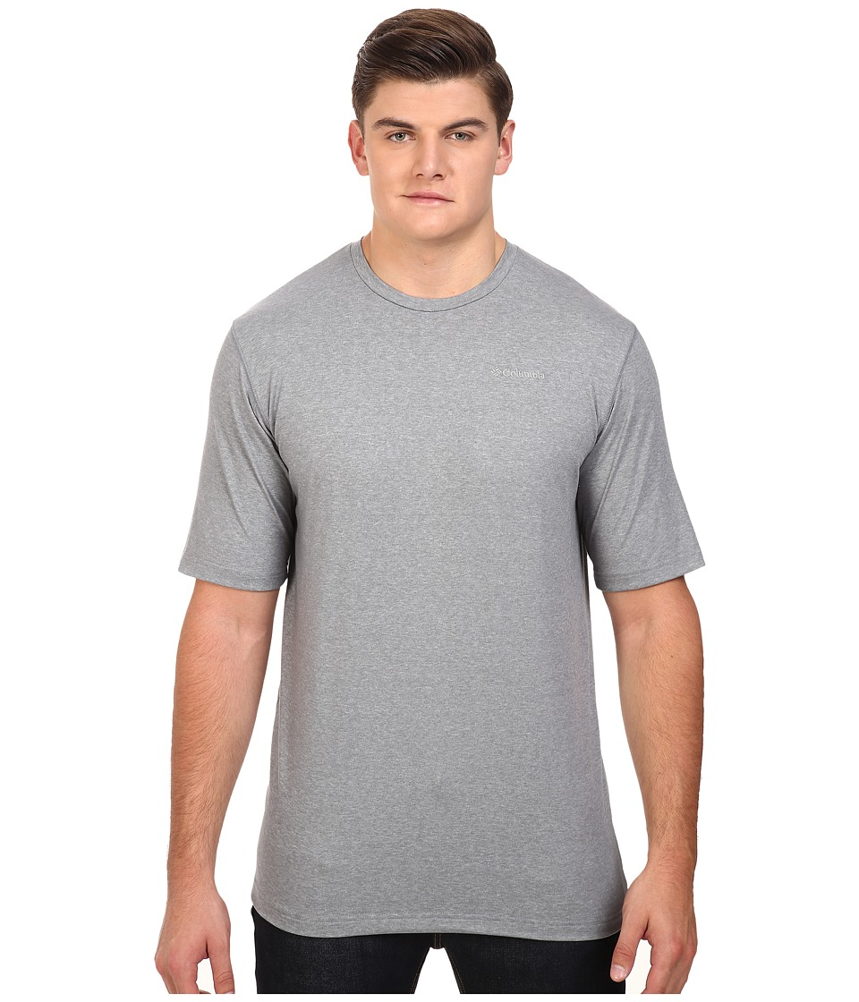 Columbia - Big Tall Thistletown Park Crew (Grey Ash Heather) Men's Short Sleeve Pullover