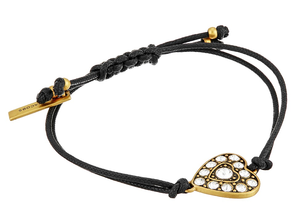 Marc Jacobs - Crystal Heart Friendship Bracelet (Crystal/Antique Gold) Bracelet