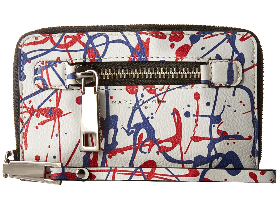 Marc Jacobs - Splatter Paint Zip Phone Wristlet (White Multi) Wristlet Handbags