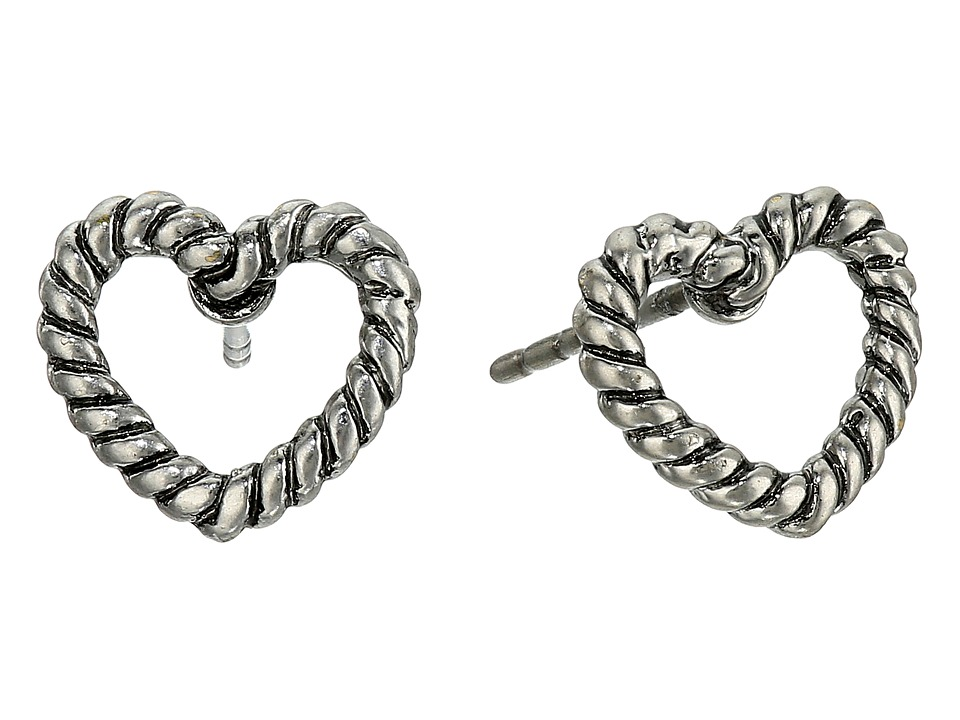 Marc Jacobs - Rope Hearts Studs Earrings (Antique Silver) Earring