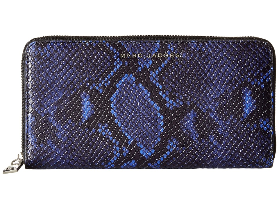 Marc Jacobs - Block Letter Snake Continental Wallet (Cobalt Snake Multi) Checkbook Wallet