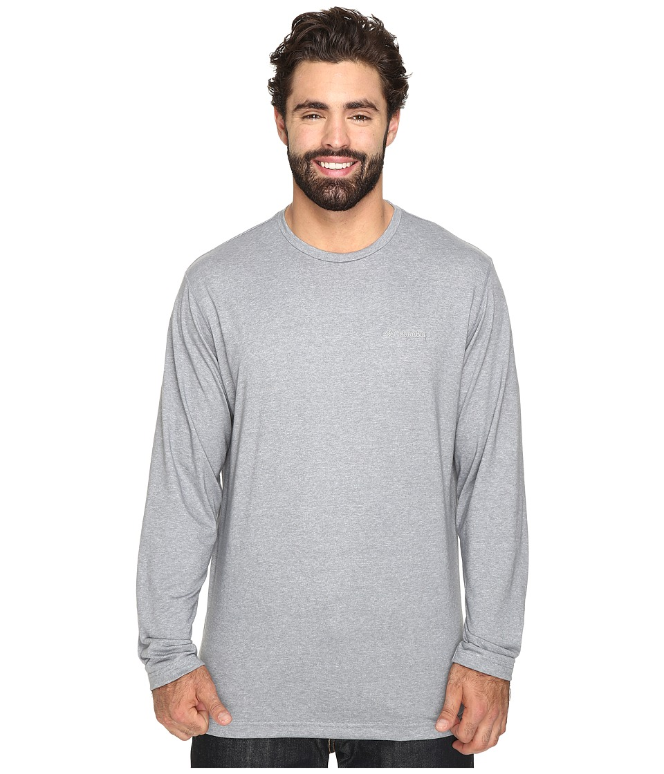 Columbia - Plus Size Thistletown Park Long Sleeve Crew (Grey Ash Heather) Men's Long Sleeve Button Up