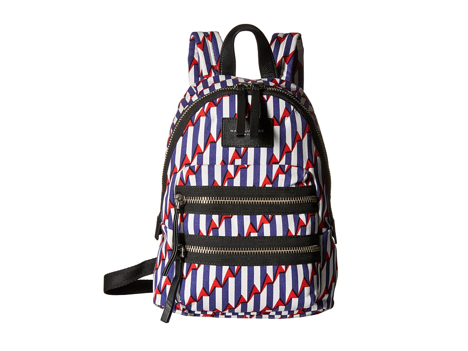 Marc Jacobs - Arrow Head Printed Biker Mini Backpack (Paris Blue Kiss Multi) Backpack Bags