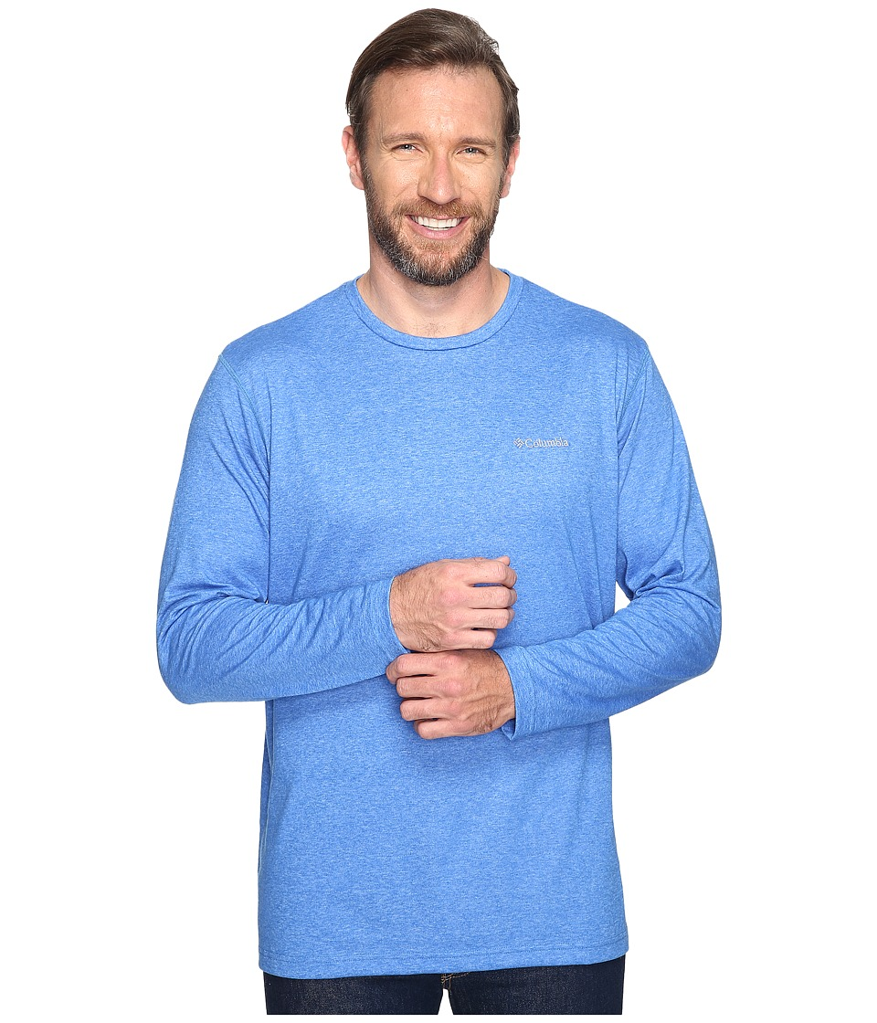 Columbia - Big Tall Thistletown Park Long Sleeve Crew (Super Blue Heather) Men's Long Sleeve Pullover