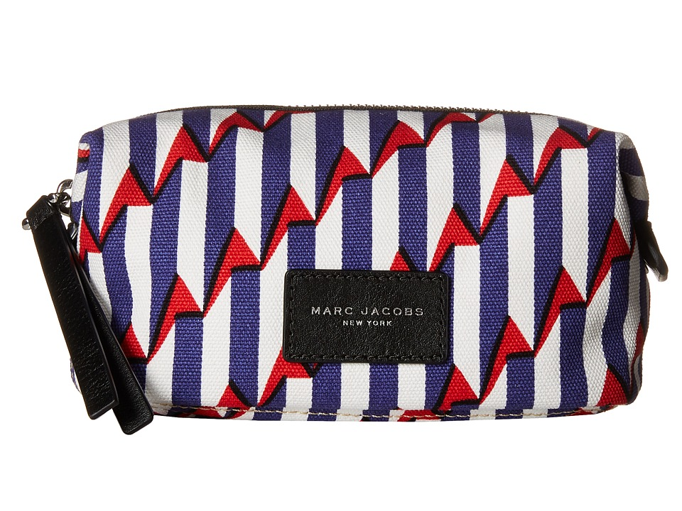 Marc Jacobs - Arrow Head Printed Biker Cosmetics Landscape Pouch (Paris Blue Kiss Multi) Handbags