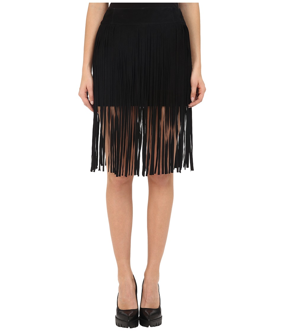 McQ - Fringe Mini Skirt (Black) Women's Skirt