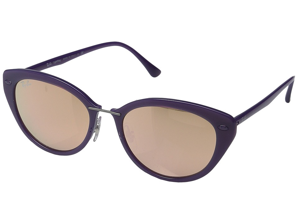 Ray-Ban - RB4250 52mm (Shiny Violet Frame/Brown Mirror Pink Lens) Fashion Sunglasses