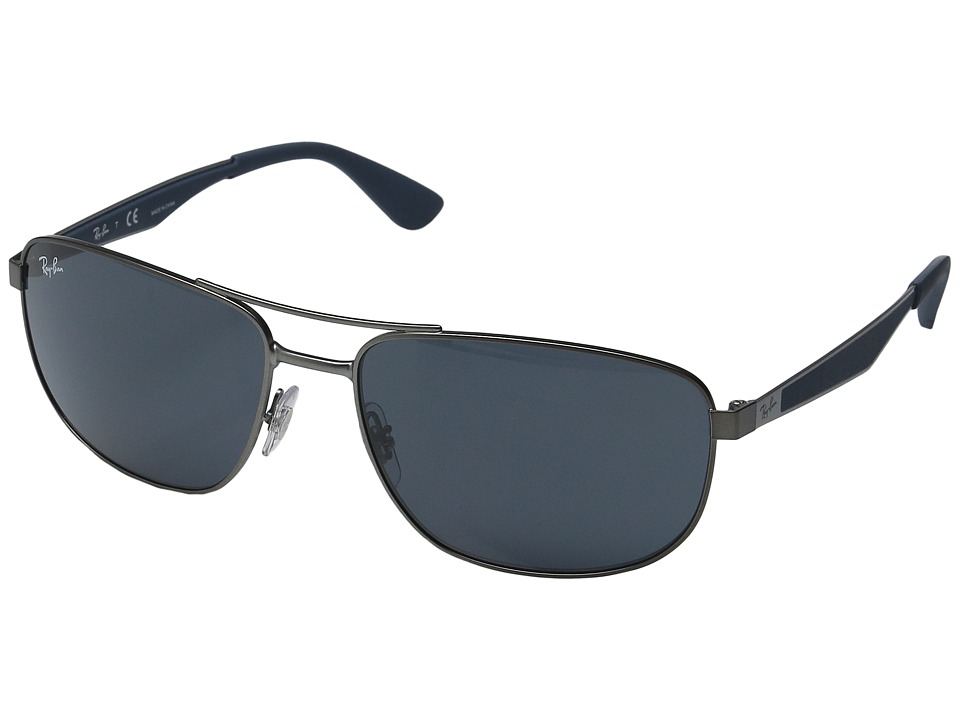 Ray-Ban - RB3528 61mm (Matte Gunmetal Frame/Dark Grey Lens) Fashion Sunglasses
